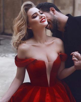 Elegante Abendkleider Rot Lang Herz Ausschnitt Satin Abiballkleider Günstig Kaufen_2