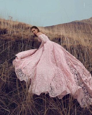 Elegant evening dresses lace pink | Evening wear with sleeves_2