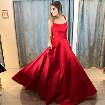 Rote Abendkleider Lang Günstig | Schlichte Abiballkleider Online_2