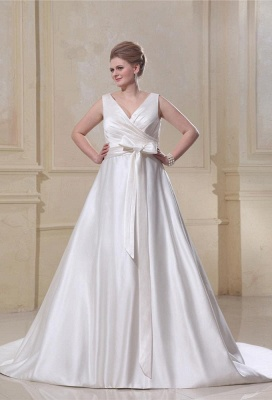 Wedding Dresses Plus Size White Straps A Line Satin Wedding Dresses Plus Size Custom Medium_1