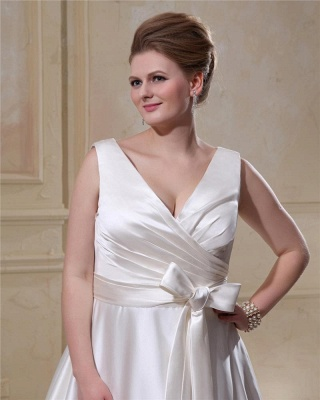 Wedding Dresses Plus Size White Straps A Line Satin Wedding Dresses Plus Size Custom Medium_2