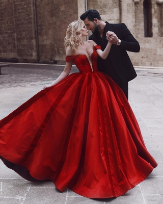 Elegante Abendkleider Rot Lang Herz Ausschnitt Satin Abiballkleider Günstig Kaufen_1