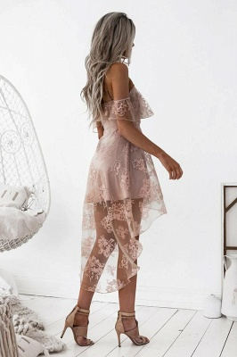 Pink Cocktail Dresses Front Short Behind Long Lace Evening Dresses Online_3
