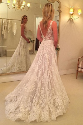 Fashion A Line Wedding Dresses With Lace Straps Wedding Gowns Cheap Online_2