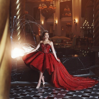Elegant Prom Dresses Red Front Short Behind Long Cheap Cocktail Dresses Online_2