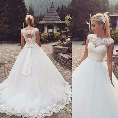 Ball Gown White Wedding Dresses With Lace A-Line Tulle Bridal Wedding Dresses_2
