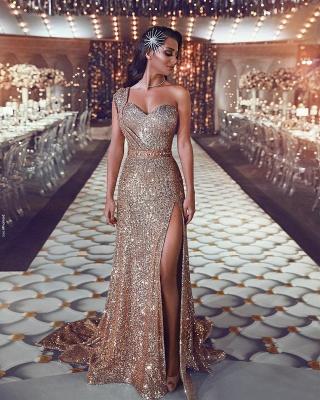 Luxus Abendkleid Gold Lang Pailletten Abiballkleider Abendmoden Online_1