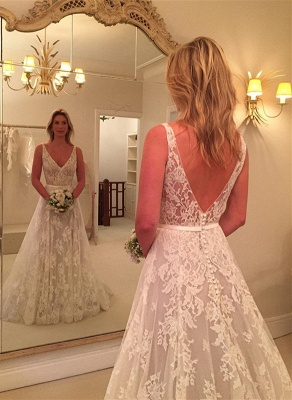 Fashion A Line Wedding Dresses With Lace Straps Wedding Gowns Cheap Online_1