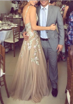 Fashion Champagne Evening Dresses Long Lace Tulle A line Prom Dresses Cheap_2