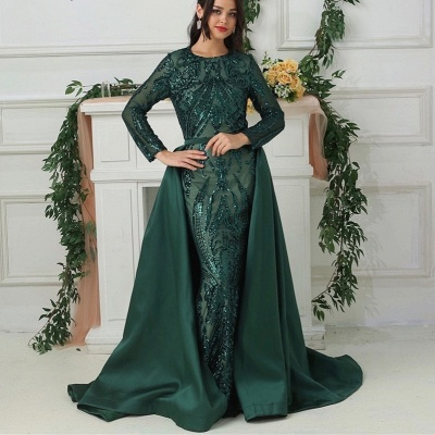 Luxury evening dresses with sleeves green | Long glitter prom dresses_3