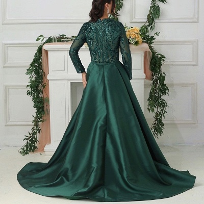 Luxury evening dresses with sleeves green | Long glitter prom dresses_2