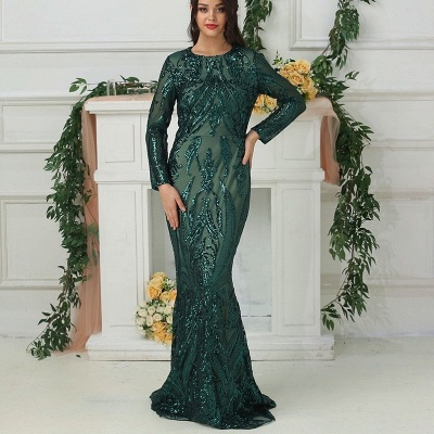 Luxury evening dresses with sleeves green | Long glitter prom dresses_4