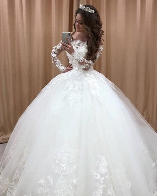 Princess Wedding Dresses With Lace Tulle Wedding Gowns Long Sleeves Cheap_2