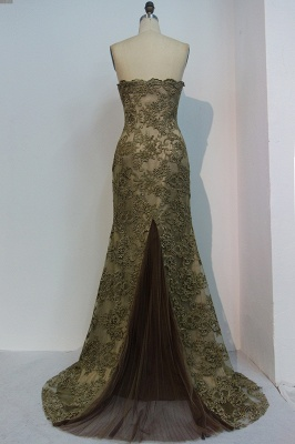 Chic Luxury Evening Dress Gold Long Cheap Lace Evening Dresses Online_2