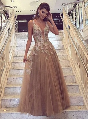 Fashion Champagne Evening Dresses Long Lace Tulle A line Prom Dresses Cheap_1