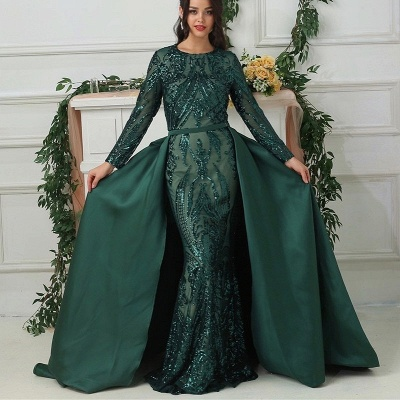 Luxury evening dresses with sleeves green | Long glitter prom dresses_5
