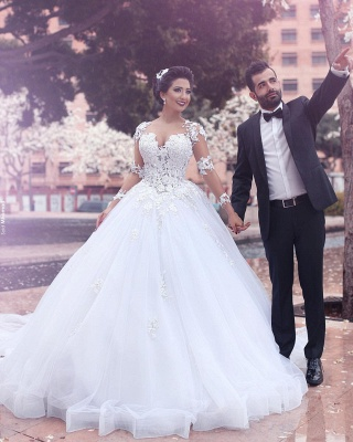 Designer White Wedding Dresses Long Sleeves With Lace Princess Organza Wedding Gowns_3