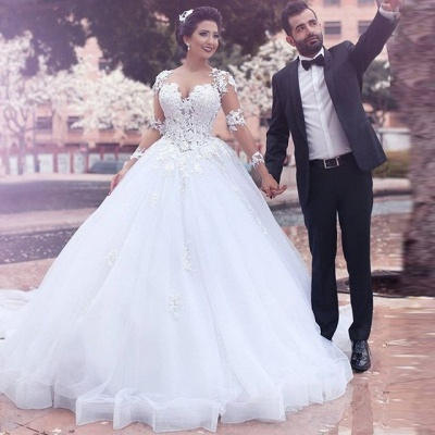 Designer White Wedding Dresses Long Sleeves With Lace Princess Organza Wedding Gowns_2