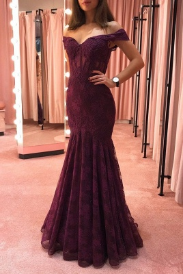 Elegant evening dresses with lace | Burgundy evening wear online_1