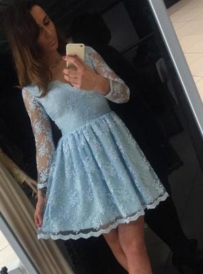 Heimkehr-Kleid Blau Günstig | Kurz Cocktailkleider Mit Ärmel
