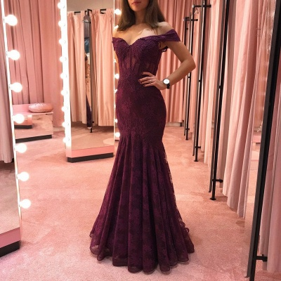 Elegant evening dresses with lace | Burgundy evening wear online_2