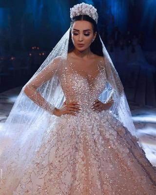 Luxus Brautkleider Mit Ärmel A Linie Spitze Hochzeitskleider Kristal_6