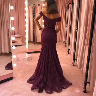 Elegant evening dresses with lace | Burgundy evening wear online_3