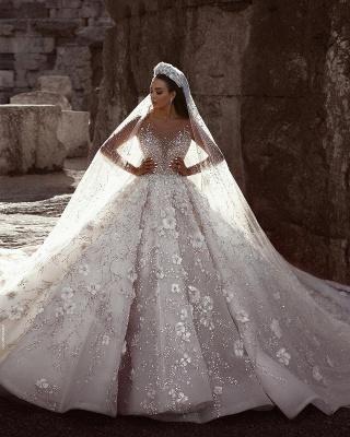 Luxus Brautkleider Mit Ärmel A Linie Spitze Hochzeitskleider Kristal_2