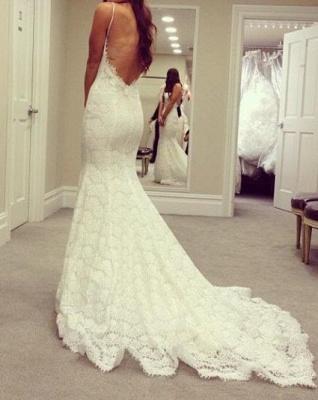 White wedding dresses lace mermaid spaghetti straps wedding gowns bridal_2