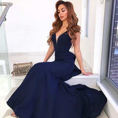 2021 Navy Blau Abendkleider Lang Günstig Schlichte Abendmoden Online_2