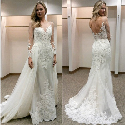 Designer Wedding Dresses With Sleeves A line lace wedding dress_2