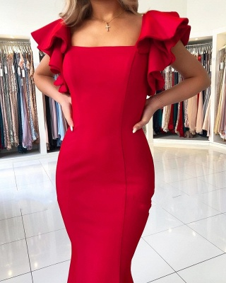Simple Red Evening Dresses Long Cheap | Backless Evening Wear Online_3