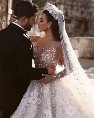 Luxus Brautkleider Mit Ärmel A Linie Spitze Hochzeitskleider Kristal_4