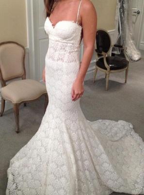 White wedding dresses lace mermaid spaghetti straps wedding gowns bridal_1