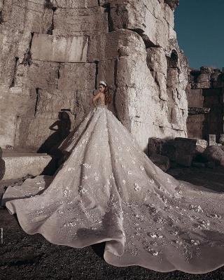 Luxus Brautkleider Mit Ärmel A Linie Spitze Hochzeitskleider Kristal_3