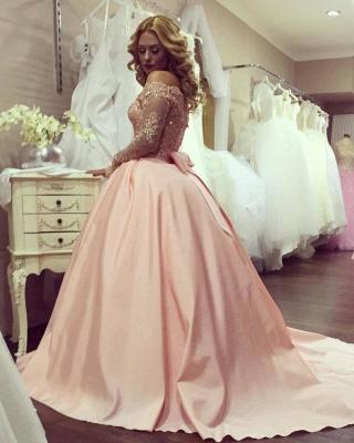 Prinzessin Rosa Abendkleider Mit Ärmel Spitze Abendmoden Satin Lange Abiballkleider_2