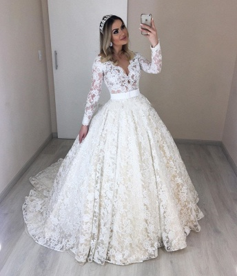 Modern bruat dresses with sleeves | Lace Wedding Dresses Cheap Online_2