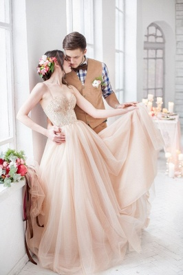 Champagne wedding dresses with lace tulle train bridal wedding gowns_1