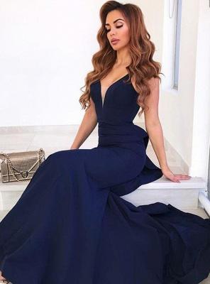 2021 Navy Blau Abendkleider Lang Günstig Schlichte Abendmoden Online_1