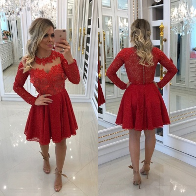 Order Elegant Red Cocktail Dresses Short With Sleeves A Line Evening Dresses_2