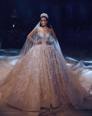 Luxus Brautkleider Mit Ärmel A Linie Spitze Hochzeitskleider Kristal_5