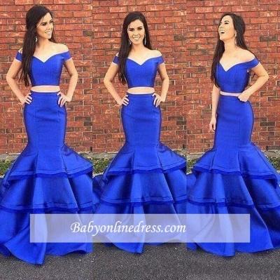 Royal Blue Abendkleider Lang 2 Teilig Taft Abendmoden Abiballkleider Günstig_1