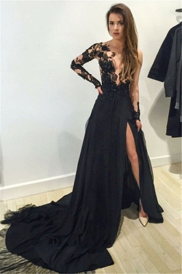 Long Sleeves Black Evening Dresses With Lace A-Line Chiffon Evening Wear Customized_1