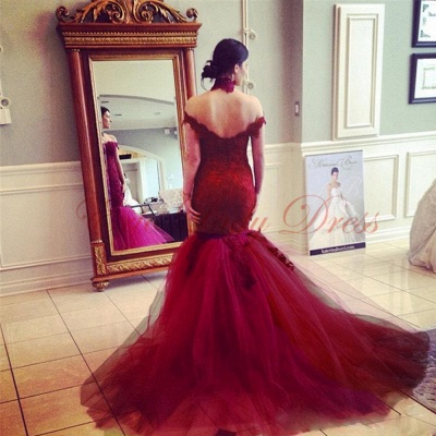 Wine red wedding dresses with pointed mermaid tulle colored wedding dresses_2