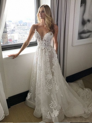 Extravagant Wedding Dresses Lace White Cheap A Line Wedding Dresses Online_3