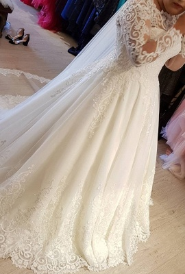 Vintage Brautkleider Langarm Spitze | Edle Weiße Hochzeitskleider Bodenlang_1