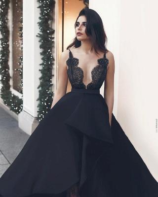 Schwarzes Abendkleid Lang Mit Spitze A Linie Abbendkleider Günstig Online_1