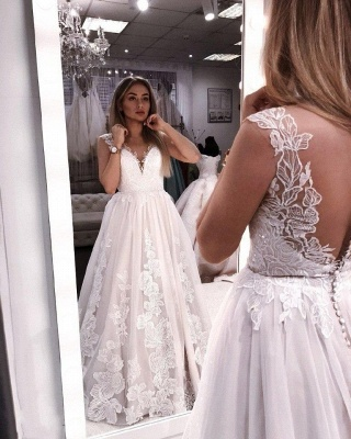 Custom made wedding dresses white a line wedding dresses cheap online_1
