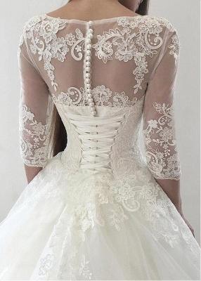 Modern Brautkleid Mit Ärmel | Spitze Hochzeitskleid A Linie_2