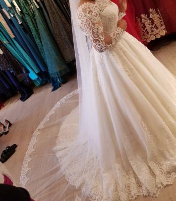 Vintage Brautkleider Langarm Spitze | Edle Weiße Hochzeitskleider Bodenlang_2
